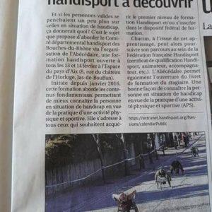 3 Février 2018, La Provence: article sur la formationAbécédairemise en place par le CDH13 à Aix en Provence
