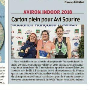 15 Février 2018, La Provence:Championnat de France Indoor d'avironavec la présence de rameurs de l'Avi Sourire