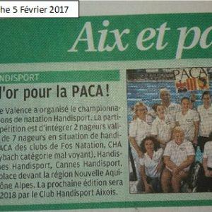 5 février 2017, La Provence:Championnat de France des RégionsNatation Handisport