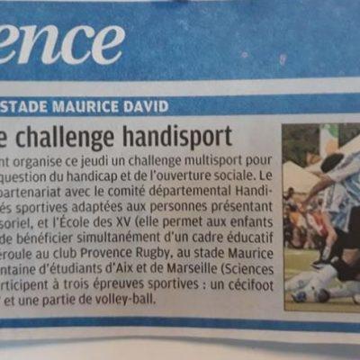 29 Mars 2018, La Provence:Challenge Handisportmultisport organisé par l'ESSCA School of Management à Aix en Provence