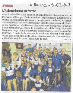 9 février 2017, La Provence:Championnat de France et d'Europe Indoor Ergomètreavec l'Avi Sourire