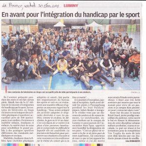 30 Mars 2018, La Provence:Intégration du Handicap par le sport organisée par les étudiants STAPS à Luminy