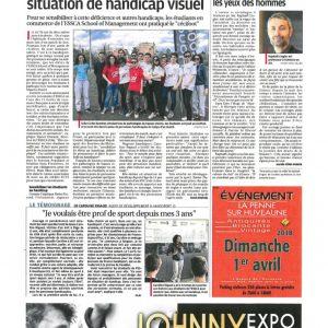 1er Avril, La Provence: Journée de sensibilisation à lapratique du Cécifoot aux étudiants en commercede l'ESSCA School of Management à Aix en Provence
