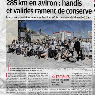 14 Juin 2017, La Provence:Traversée Marseille Calvià la rame avec l'Avi Sourire