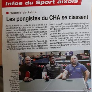 Juin 2018, magasine Sport Santé:les pongistesdu Club Handisport Aixois au championnat de France à Joué-lès-Tours