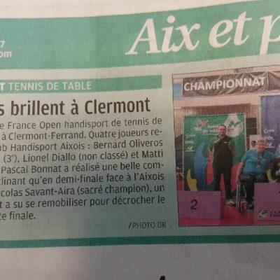 17 juin 2017, La Provence: Le Club Handisport Aixois brille auchampionnat de France Open de Tennis de Tableà Clermont